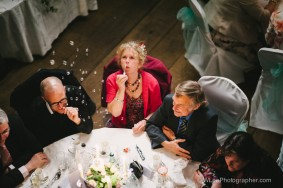 Wedding guest blowing bubbles