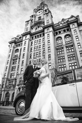 Bride and groom outside Liver Buildings